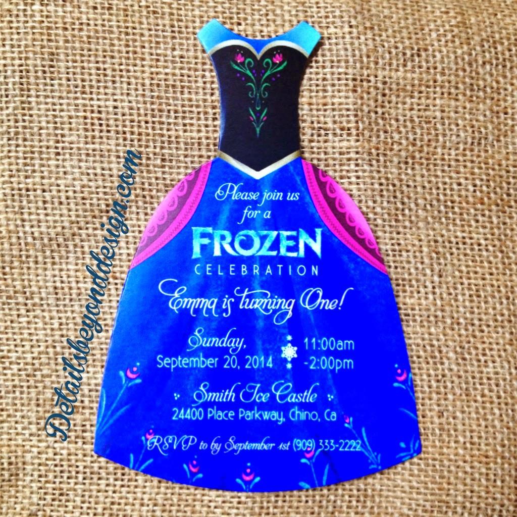 Details Beyond Design By Lauren Frozen Dress Invitations Elsa And Anna Die Cut Invitations