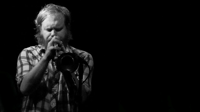 The trumpet player during the Destroyer's Denver concert at the Bluebird Theater.