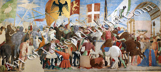 Part of the True Cross eventually fell into the hands of Chosroes, a Persian Emperor. He was defeated in battle by Heraclius, a Byzantine Emperor, who returned the relic to Jerusalem. Piero's battle is a grim and forbidding scene, and on the right he has shown the defeated Chosroes kneeling as he awaits execution.