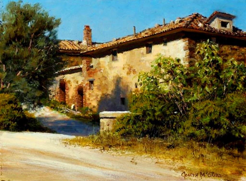 Im genes arte pinturas paisajes con casas antiguas de pueblos - Paisajes de casas ...