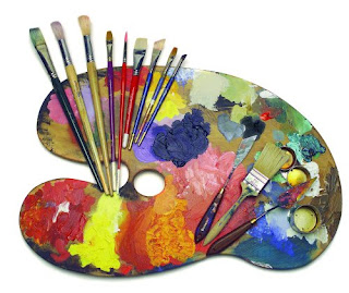 art pallet with brushes and paints