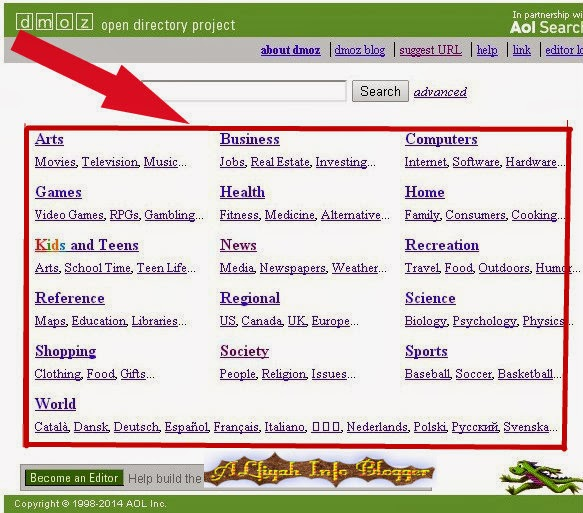 www.DMOZ.org in Blogger