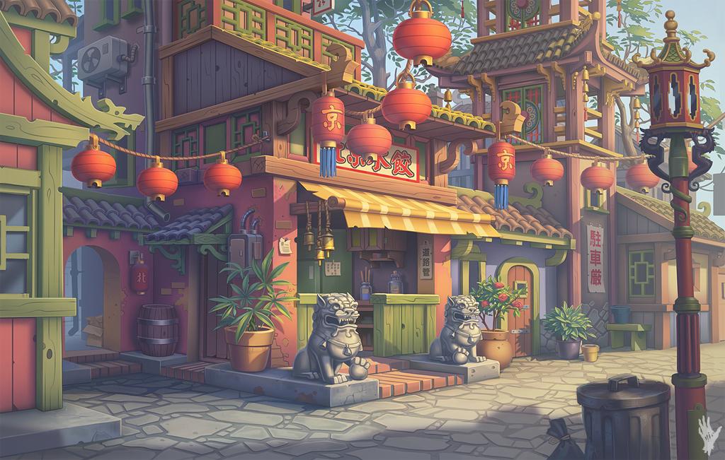 illustration de Alexander Shatohin représentant l'entrée d'un restaurant chinois dans une rue