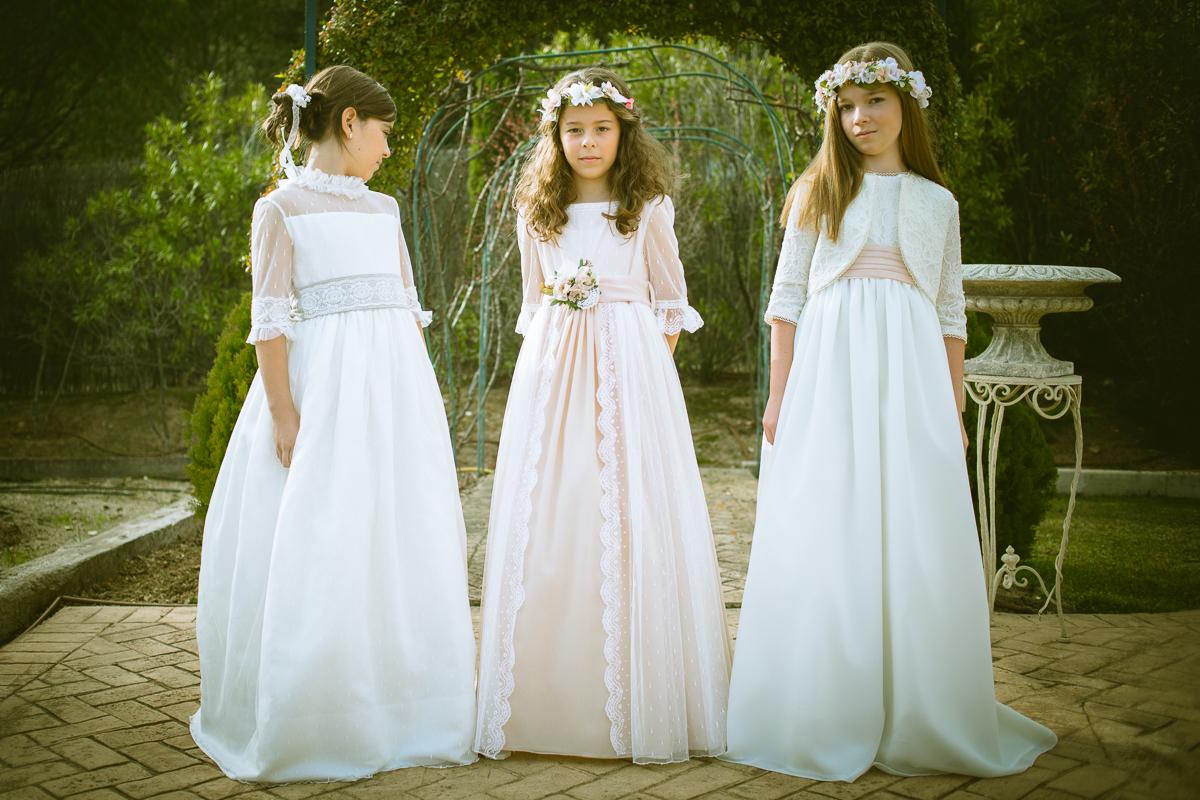 De izda. a drcha. Vestido Leticia, Vestido Lucia y Vestido Nina.