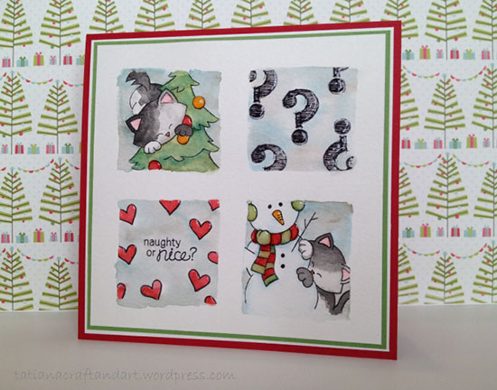 Naughty or Nice Kitty Card by Tatiana | Newton's Curious Christmas Stamp set by Newton's Nook Designs