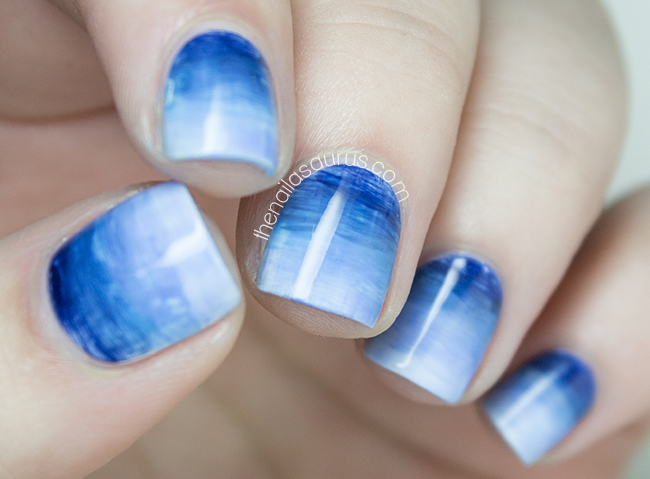 Blue Watercolor Gradient Nail Art | The Nailasaurus | UK Nail Art Blog