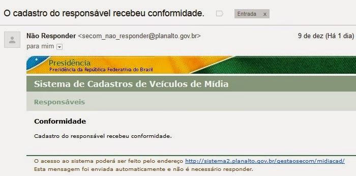 TVC-Rio está cadastrada na SECOM da Presidência da República
