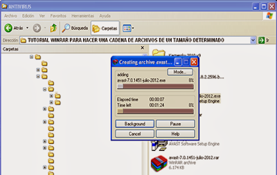 winrar compactando archivos cortados o separados en volúmenes
