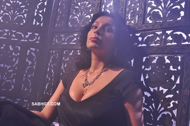 Asha Saini hot black saree Aakasam Lo Sagam7