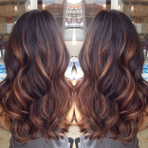 Dark Hair With Blonde And Caramel Highlights