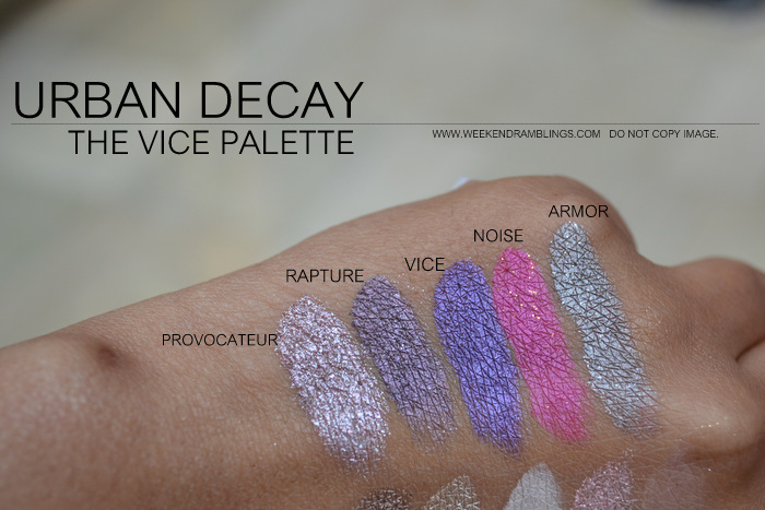 urban decay vice palette eyeshadows indian makeup beauty blog swatches provacateur rapture vice nose armor