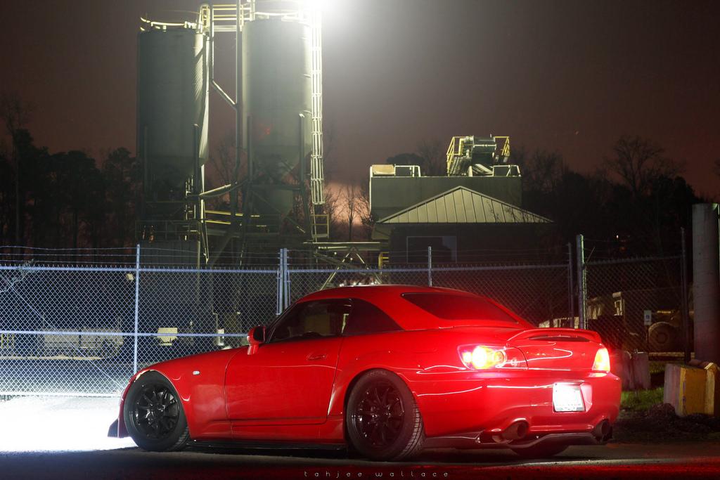 czerwona, typowa, badass, Honda S2000, tył, lampy, zdjęcia samochodów w nocy, VTEC just kicking in yo