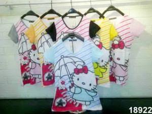 Busana: Kaos Cewek Kombinasi Hello Kitty (BBB-069)