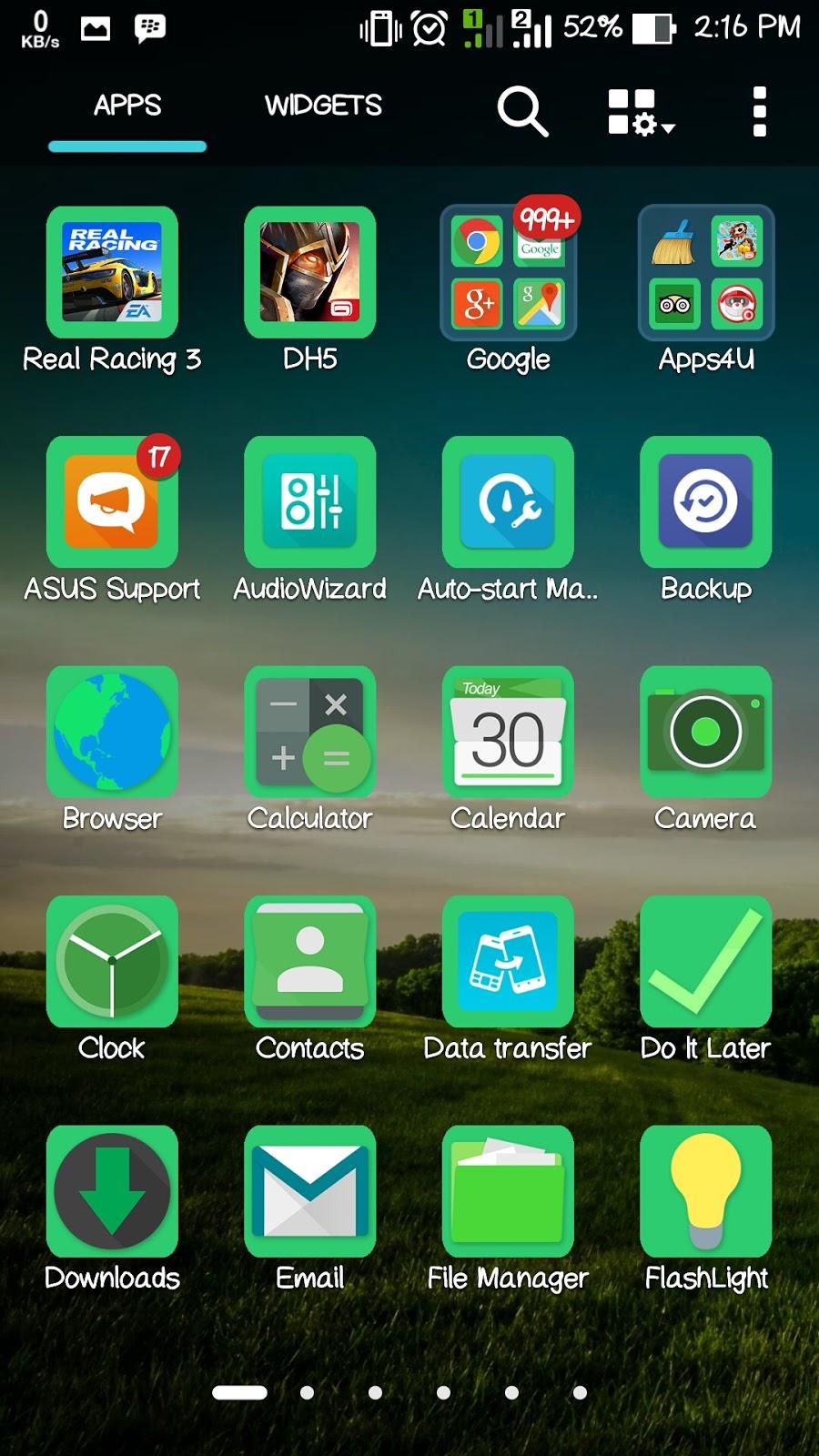Themes Go Green Zenfone 2 ZenUI Theme Asus Zenfone