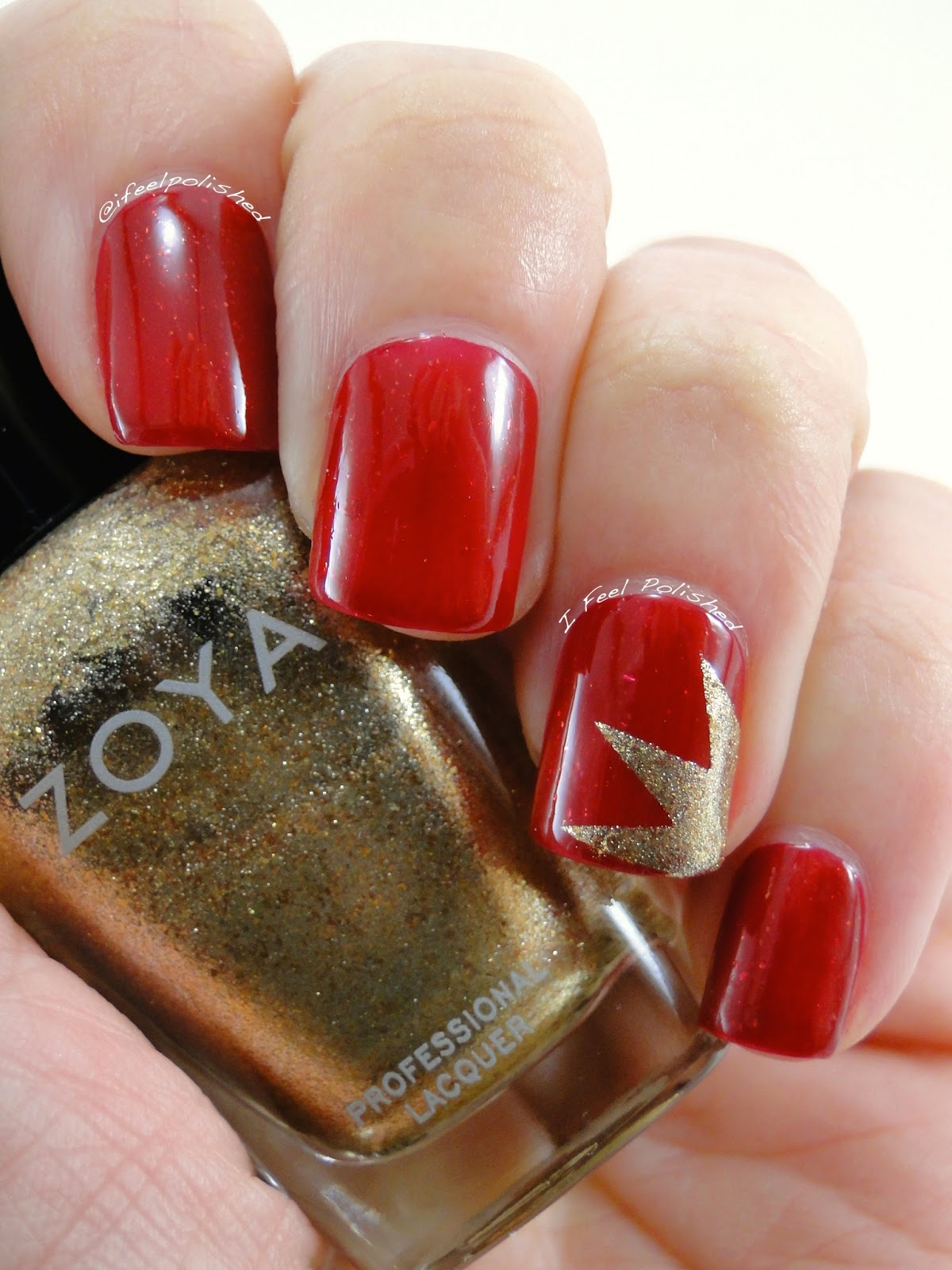 I Feel Polished Red And Gold Nail Art
