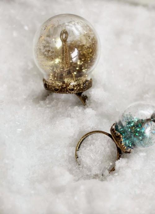 diy glitter snow globe ring