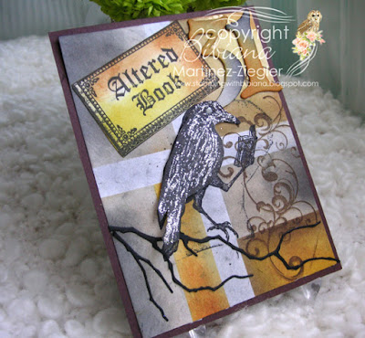 Halloween crow card with Lost Coast Designs stamps side