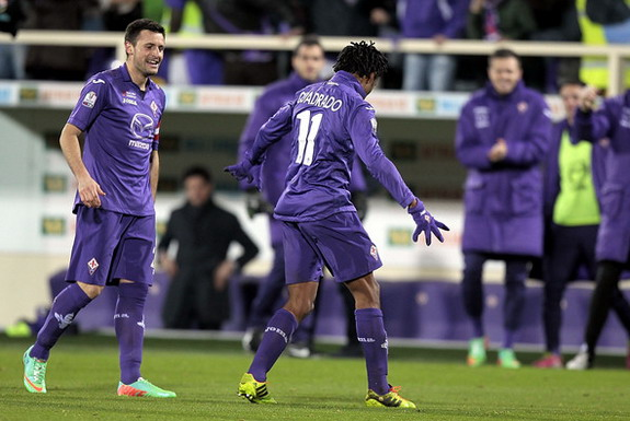 Fiorentina player Juan Guillermo Cuadrado celebrates after scoring a goal against Udinese