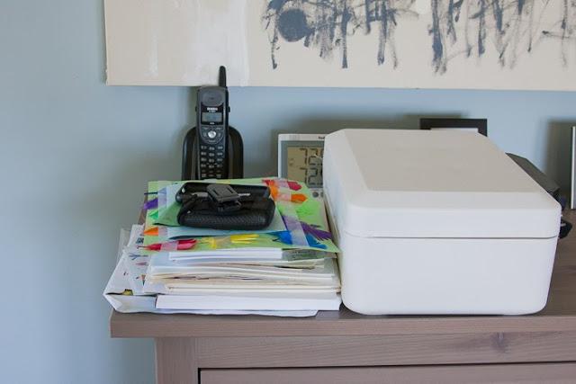 cluttered dresser
