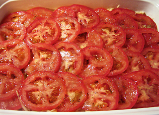 Cabbage Layered with Sliced Tomatoes Ready for Oven