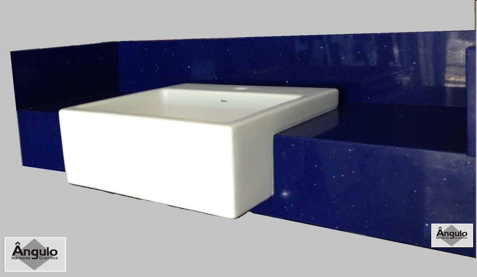 Pia Banheiro Azul - Ângulo Mármores e Granitos Silestone Azul Stellar