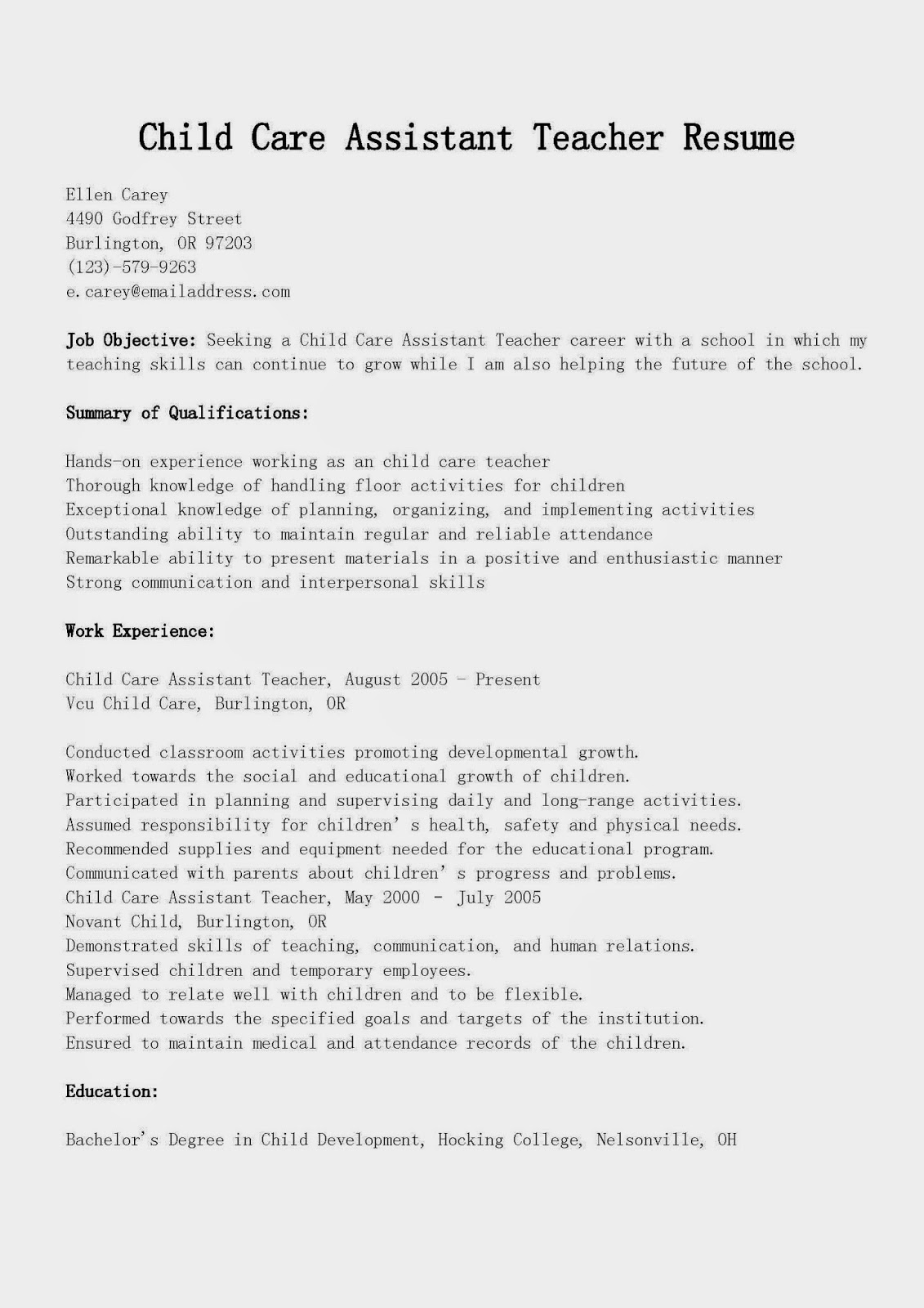 28 Sample Resume For Child Care Assistant Child Care Job