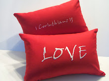 LOVE -  red cotten - 1 Cor 13 on back