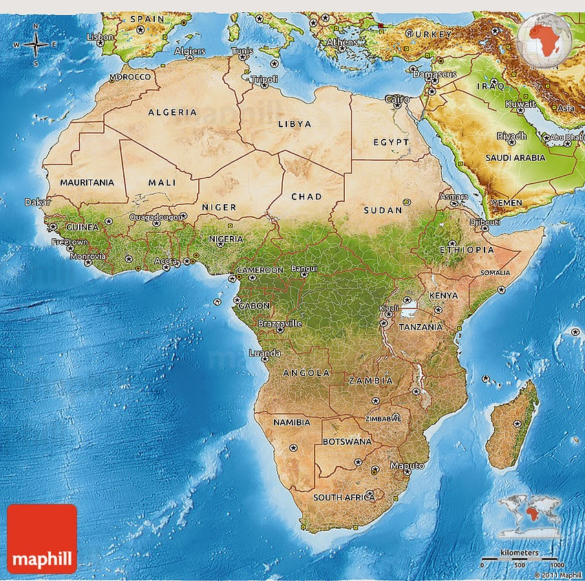 Small but cool contour topographical Africa physical map for download.