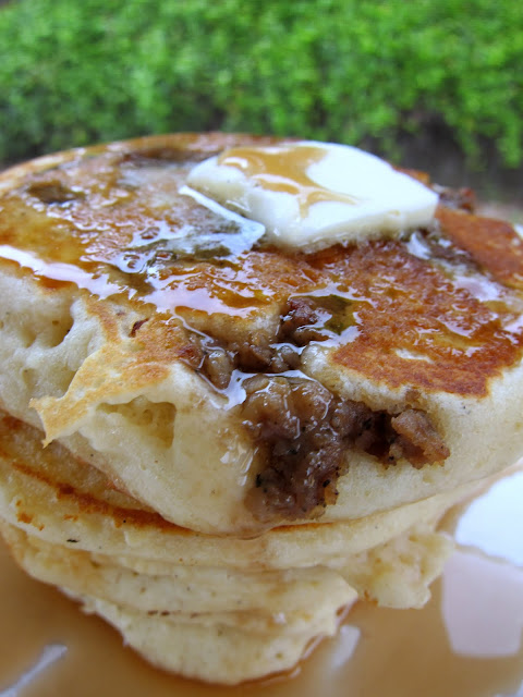 Sausage Pancakes Recipe - homemade pancakes with sausage crumbles baked inside - top with butter and syrup for a delicious breakfast. Tastes like a Sausage McGriddle!