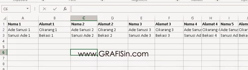 Format Nama Undangan di Excel