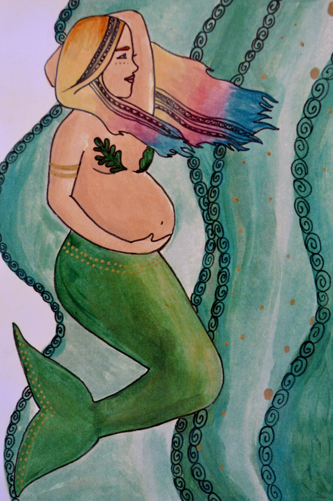 pregnant mermaid pregnancy art catie atkinson spiritysol