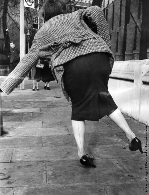 1940's woman tripping over