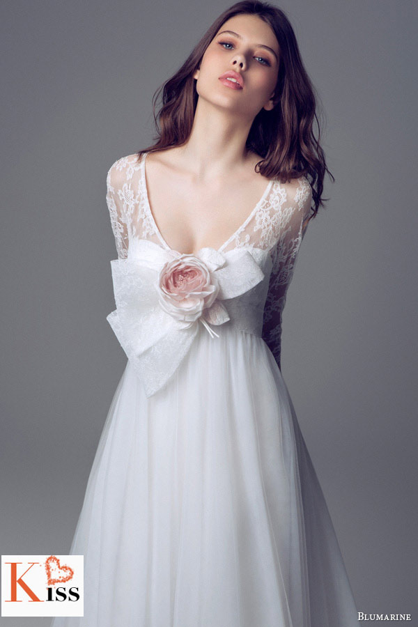 Simple Strapless Lace A-line 2014 Wedding Dresses Collection From Blumarine