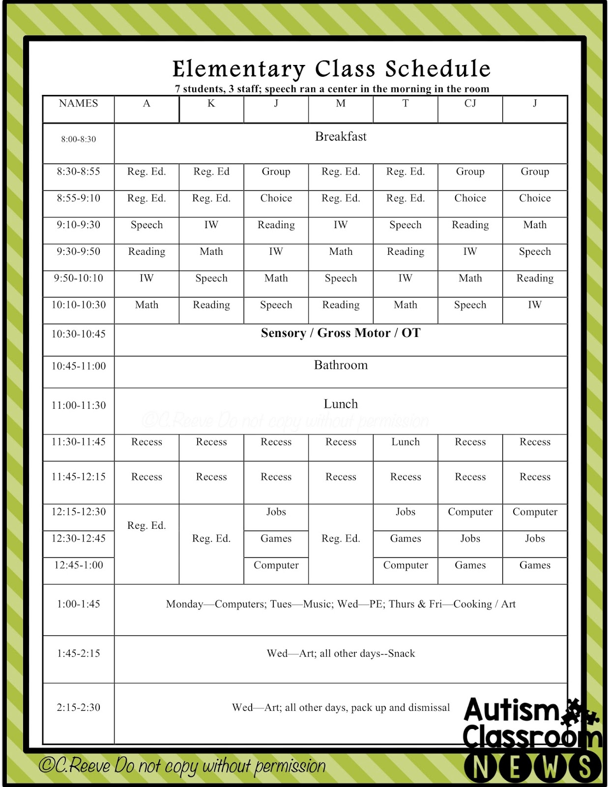 Elementary Classroom Schedule Template ~ Examples of setting classroom schedules in special