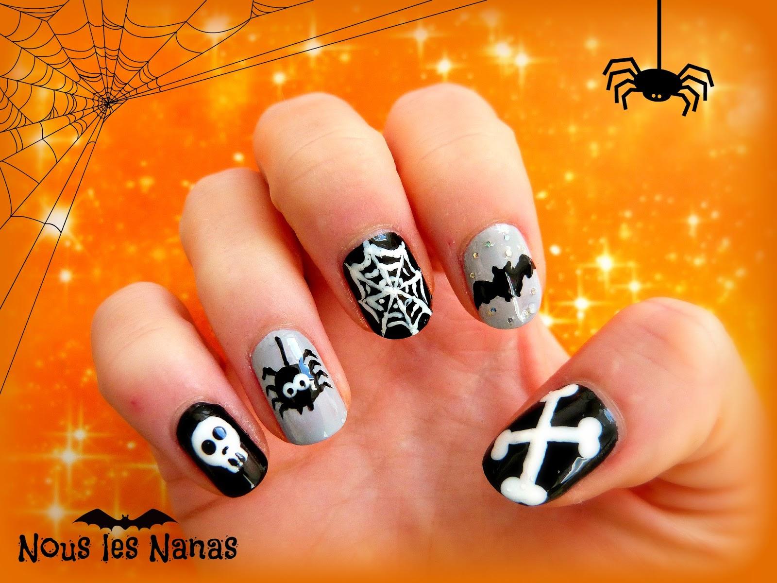 manucure fête halloween. Manucure Halloween noire
