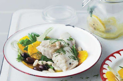 Fish cooked in a jar with fennel and orange salad