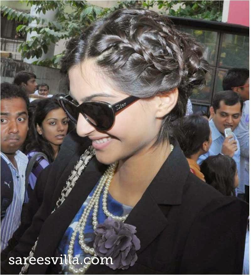 Sonam Kapoor Braided Bun Haristyle
