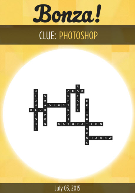 Bonza Daily Word Puzzle Clue Photoshop Answers July 3, 2015