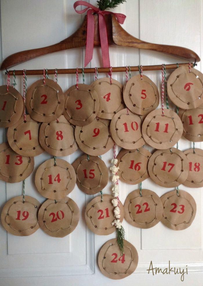 Una pizca de hogar diy calendario de adviento de papel craft - Calendario de adviento diy ...