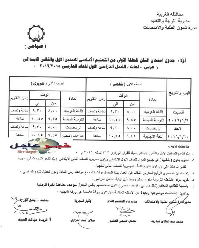 جدول امتحانات نصف العام الدراسى 2016 / 2015 ابتدائى واعدادى وثانوى محافظة الغربية