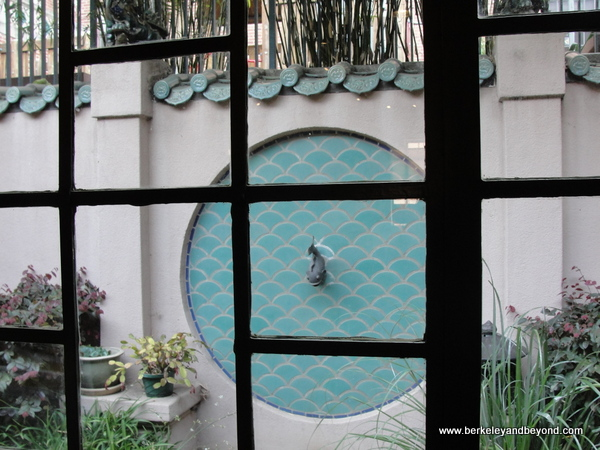 interior courtyard of Chinese Historical Society of America museum in a Julia Morgan building in Chinatown San Francisco