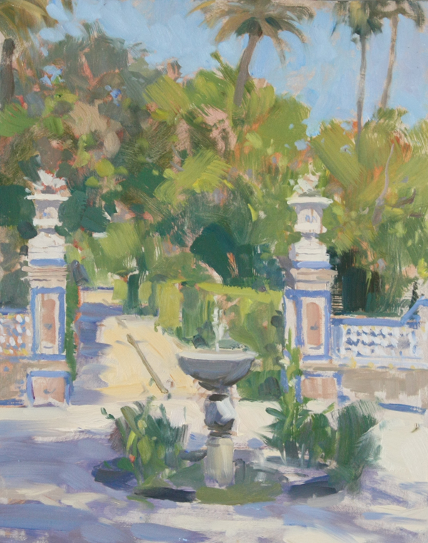 Fountain And Urns, Royal Palace Of Alcazar' (10x14in, Oil On Board)