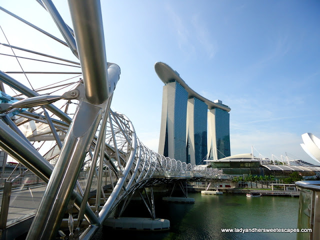 view of Marina Bay Sands Skypark from Helix Bridge