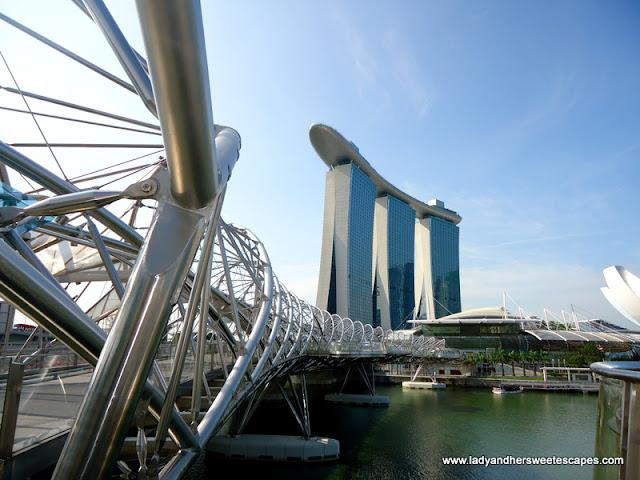 view of Marina Bay Sands Skypark from Helix Bridge