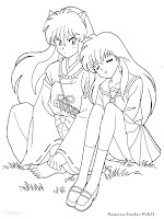 Gambar Mewarnai Inuyasha Dan Kagome Duduk Berdua
