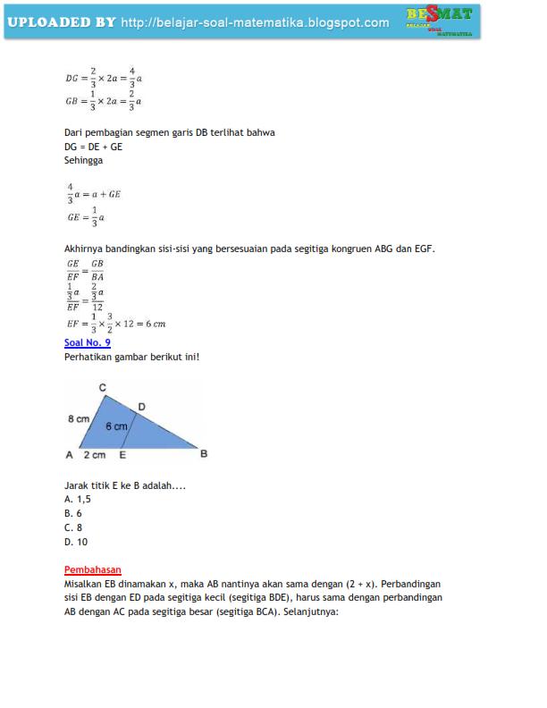 Soal Kesebangunan Dan Kongruensi Disertai Pembahasan Matematika Smp 9 Belajar Matematika