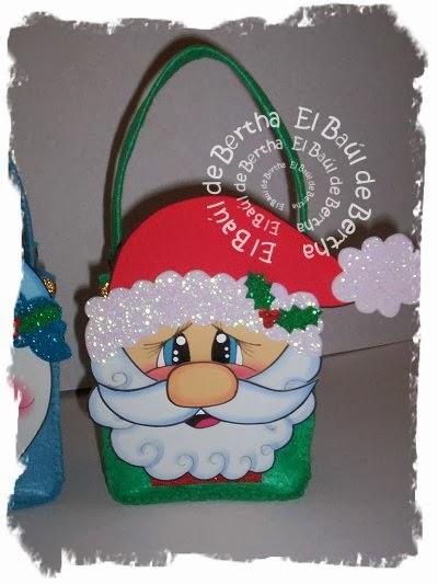 El ba l de bertha bolsita dulcero con caritas de santa - Sorpresas para navidad ...
