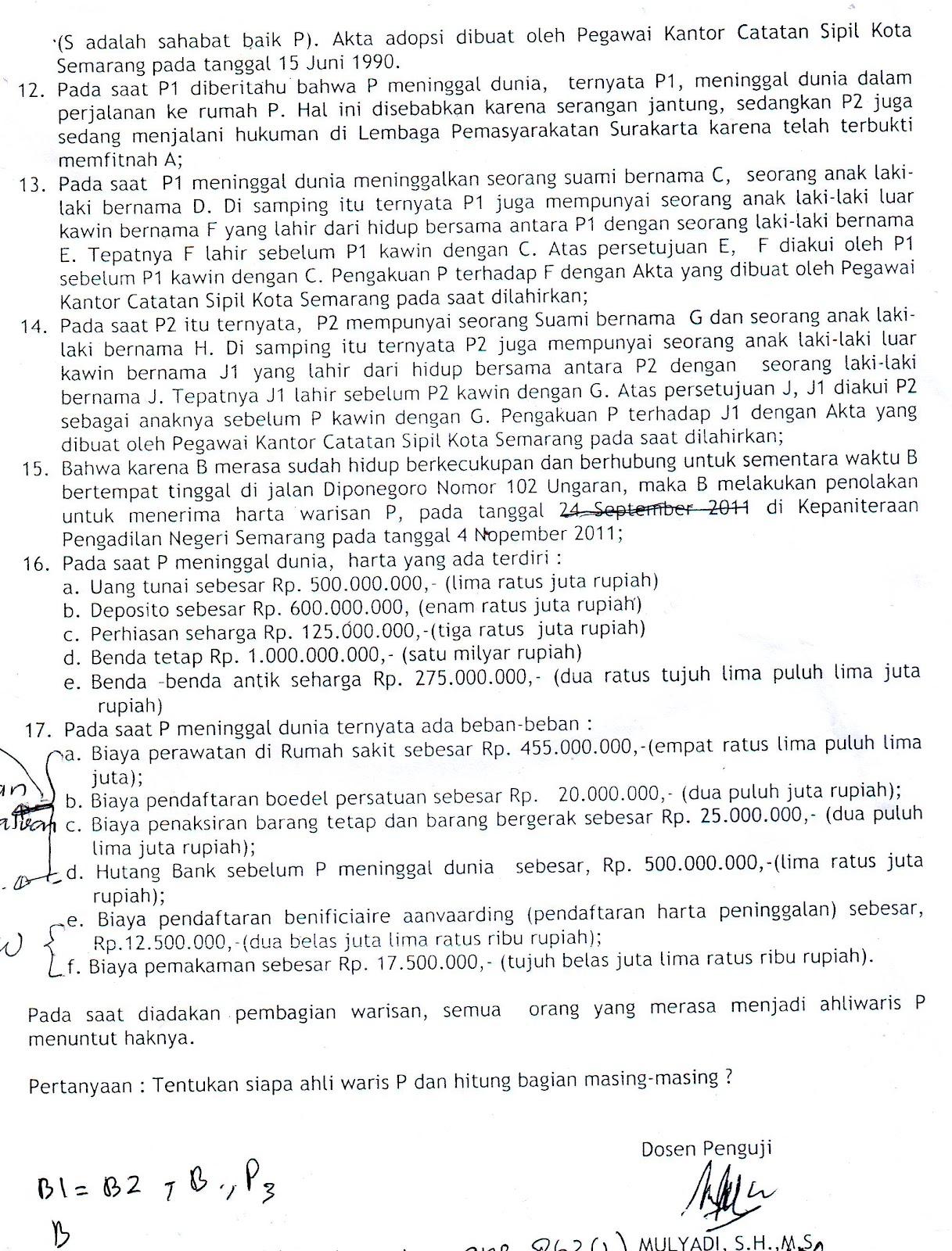 Soal Amp Jawaban Uts H Waris Bw Kelas B1 Amp B2 Notariat Undip Kelas B 2