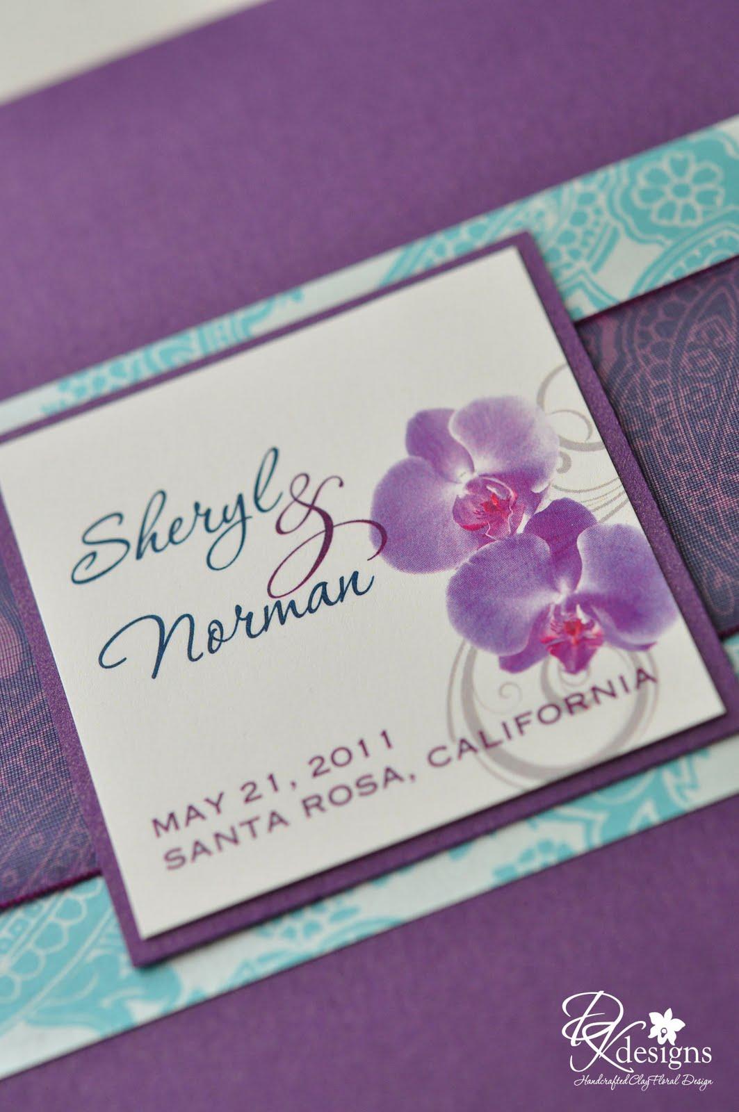 Plum, Aquamarine and Navy Wedding Invitations - DK Designs