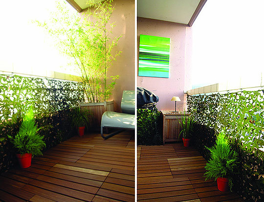 The studio m designs blog small balcony solutions for Apartment balcony privacy solutions
